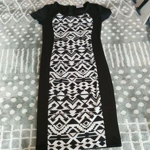Black dress with center tribal pattern